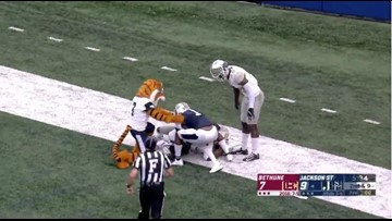 Jackson State's mascot gets flagged for unsportsmanlike penalty
