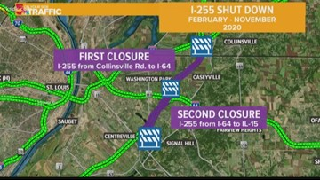 Bumpy stretches of I-255 to shut down for 10 months in Illinois beginning Saturday