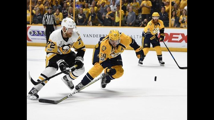<p>Patric Hornqvist banked a shot off goalie Pekka Rinne's elbow with 1:35 left in regulation for the game-winner in the Pittsburgh Penguins' Stanley Cup-clinching 2-0 win against the Nashville Predators.</p>