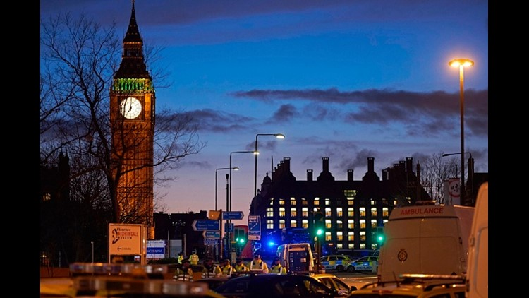 <p>British police responded to an incident outside Parliament</p>