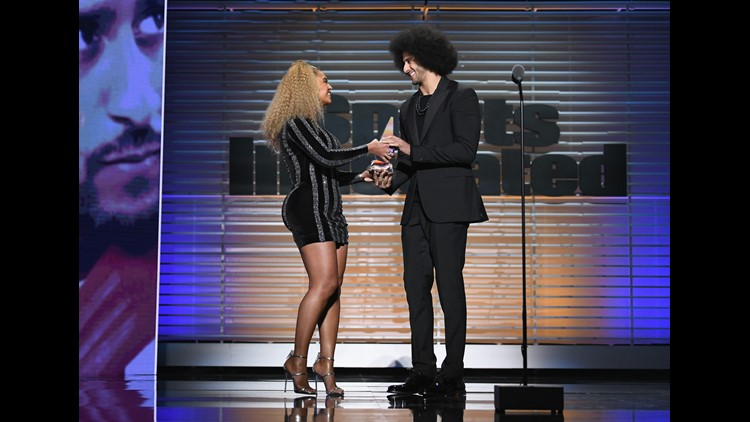 After accepting the award from Beyonce, Kaepernick said he was humbled to follow in the footsteps of a man whose legacy, he says, paved the way for his protest.