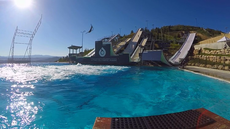 At the U.S. Ski and Snowboarding Center of Excellence athletes use water jumps and inflatable ramps to train during the summer months.