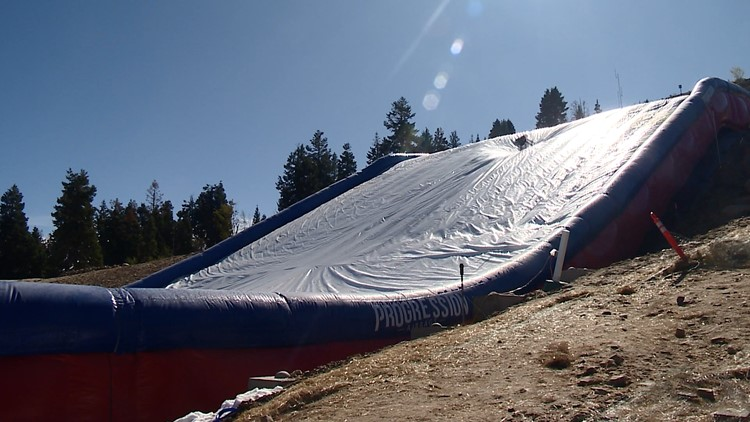 At the U.S. Ski and Snowboarding Center of Excellence athletes use an inflatable air bag to train for the new big air event.
