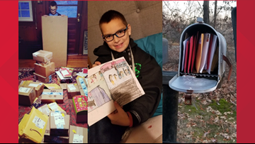 NC boy with failing heart returns home to find mailbox overflowing with Christmas cards and much more