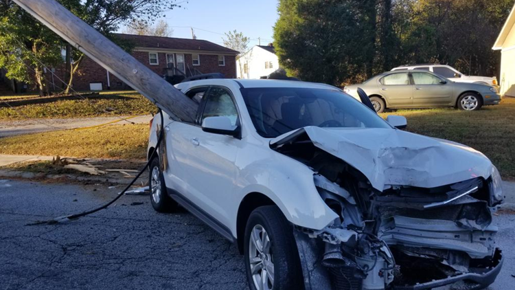 Pole Impales Car After Mom Drops Child off at School in North Carolina