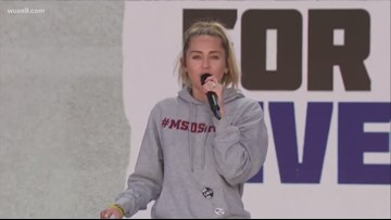 "Music artist Miley Cyrus performs ""The Climb"" at March For Our Lives Rally"