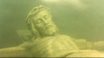 20 feet down in Lake Michigan there is an 11 foot tall statue of Christ